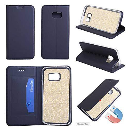 Coque Galaxy S6, GORASS PU Solide Couverture en Cuir Flip avec Fente pour Carte Antichoc Cas De Téléphone Mode et Simple Étui pour Samsung Galaxy S6, Bleu