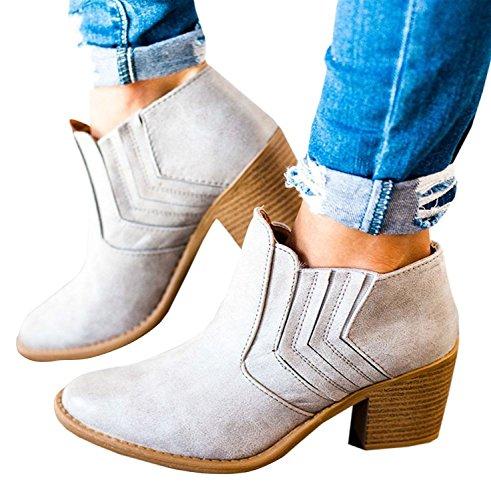 Minetom Femme Bottines Zip Chelsea Talons Carrés Couleur Unie Bottes Tissage Talons Daim Sexy Sandales Chaussures
