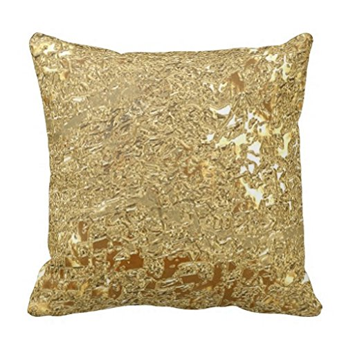 Bling Faux Blattgold Metallic-Look Kissen Fall, Cc-01, 18*18 (Fall Benutzerdefinierte Kissen Werfen)