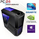 PC24 Gaming PC | Intel i7-7700K @4x4,50GHz | nVidia GF GTX 1080 mit 8GB RAM | 16GB DDR4 PC2133 RAM | Gigabyte GA-Z270X-Gaming K5 Mainboard | 600Watt 80+ ATX Netzteil | Windows 10 Pro | i7 Gamer PC