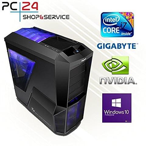PC24 Gaming PC | Intel i7-7700K @4x4,50GHz | nVidia Titan Xp Pascal mit 12GB RAM | 16GB DDR4 PC2133 RAM | Gigabyte GA-Z270X-Gaming K5 Mainboard | 750Watt 80+ ATX Netzteil | Windows 10 Pro | i7 Gamer PC