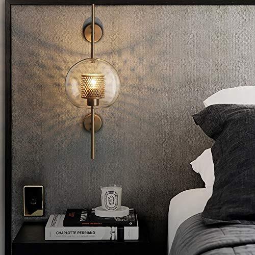WTOKL Wandlampe Retro kreative runde glaskugel schmiedeeisen hohl e27 Vintage LED Wohnzimmer Schlafzimmer,Brass,S