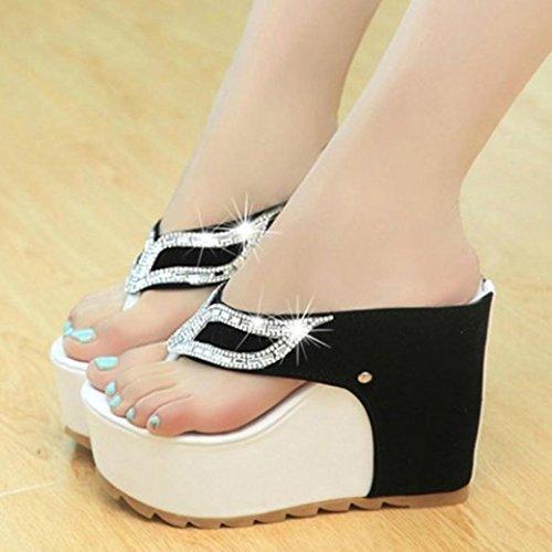 Vovotrade Beautiful Women Fashion Summer Rhinestones Flat Flip Flops Sandals Loafers bianca