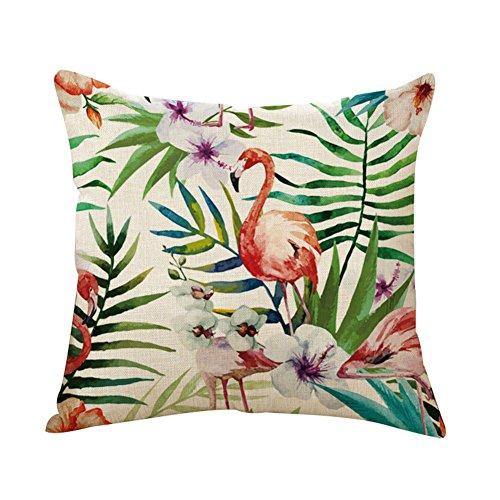 Outflower. Funda de Cojín Algodón Lino Funda de Almohada Cuadradas Diseño de Hojas y Plantas Tropicales...