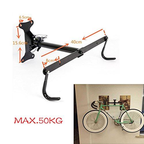 Praktisch Klappbar Fahrradhalter Fahrrad Wandhalter Hochleistung Halterung Fahrradhaken Wandmontage Aufbewahrung mit Schrauben für Wandmontage platzsparend Laufradeinhängung Max. 50 kg, Schwarz