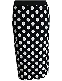The Home of Fashion Womens Plus Size Black and White Polka Dot Midi Pencil Skirt