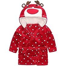 Albornoz Infantil Bata de Bano Franela Pijama con Capucha Toalla Disfraz Animal