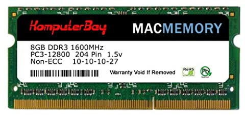 Komputerbay MACMEMORY 8GB PC3-12800 1600MHz SODIMM 204-Pin Laptop-Speicher 10-10-10-27 Einzel