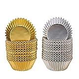 Foglio Metallico Pirottini Muffin di Cupcake Muffin Carta Cottura Tazze Oro e Argento (200 Pezzi)