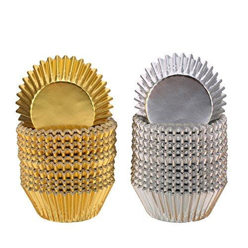 ke Fall Liner Muffin Papier Backen Tassen Gold und Silber (Halloween-mini-cupcake-liner)