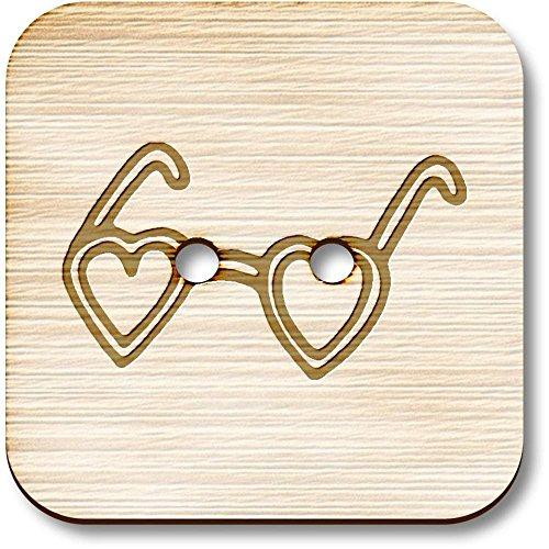 Azeeda 8 x 23mm 'Herz-Sonnenbrille' Quadratisch Holz Knopfe (BT00073004)