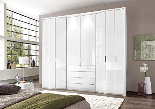 lifestyle4living Falttürenschrank, Falttürenkleiderschrank, Falttüren, Kleiderschrank, Drehtüren, Schlafzimmerschrank, Wäscheschrank, Weiß, Alpinweiß, Glas, Schublade