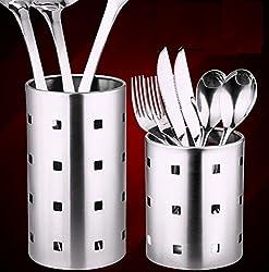 Generic Stainless steel chopsticks tube tableware storage rack drain rack shovel spoon bucket knife fork storage Box Kitchen utensils L