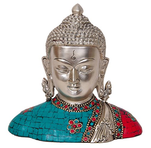 Aesthetic Decors Buddha Bust W Shawl in Silver & Turqoise Red Stone Showpiece - 17.8 cm (Brass, Multicolor)