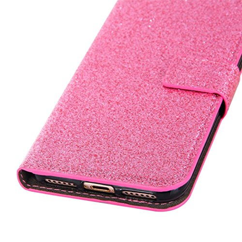 Cover per iPhone 7, Tpulling Custodia per iPhone 7 Case Cover Copertura della pelle di caso del cuoio di vibrazione del raccoglitore di Bling Glitter di Bling per il iPhone 7 4.7 pollici (Rose Gold) pink