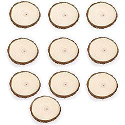 LEORX Rodajas de madera discos para bricolaje manualidades centros de mesa de boda 10pcs 7-9CM