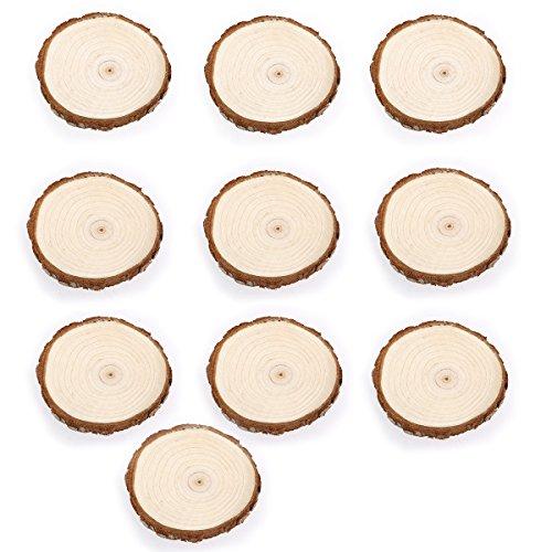 Tinksky Holzscheiben 7-9CM 10st Holz-Log Scheiben für DIY Handwerk Hochzeit Mittelstücke (Holz Farbe)