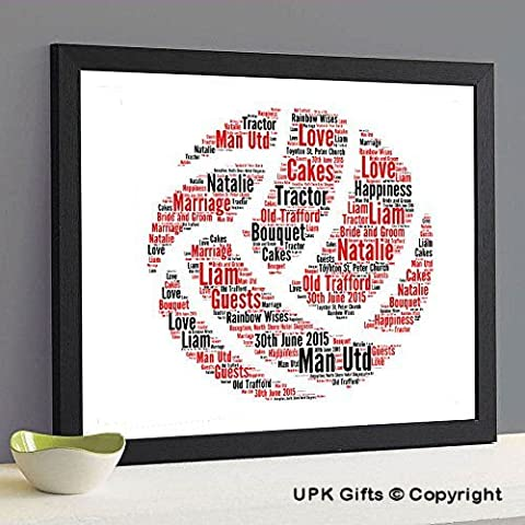 Personalised Print Gift Word Art with FREE FRAME Football Team Ball Son