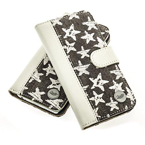 QIOTTI >          Apple iPhone 6 PLUS / iPhone 6S PLUS (5,5&quot;)          < incl. PANZERGLAS H9 HD+ Booklet Wallet Case Hülle Premium Tasche aus echtem Kalbsleder und Japanischen Denim mit KARTENFÄCHER. CATCH KOLLEKTION ( WEISS