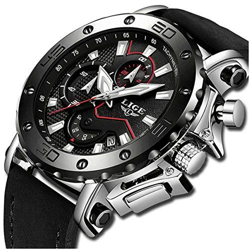 LIGE Herren Uhren Mode Wasserdicht Sport Quarzuhr Herren Chronograph Beiläufig Schwarz Leder Armbanduhr