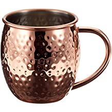 Deik Moscow Mule Mugs Set, Moscow Mule Hammered Copper Plated Cups, 16 oz Mule Mug Set, Cold Drink Rose Gold Cup with Brass Handles, Stainless Steel Inner, Set of 4