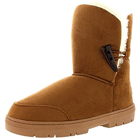 Womens One Toggle Classic Short Fur Lined Waterproof Winter Rain Snow Boots - Tan - 7 - 40 - AEA0194