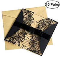 BESTOYARD 10pcs Creative Laser Cut Halloween Invitations Card Hollow Horror Party Invitations Cards Spiderweb Design Cards with Bowknots (Black)