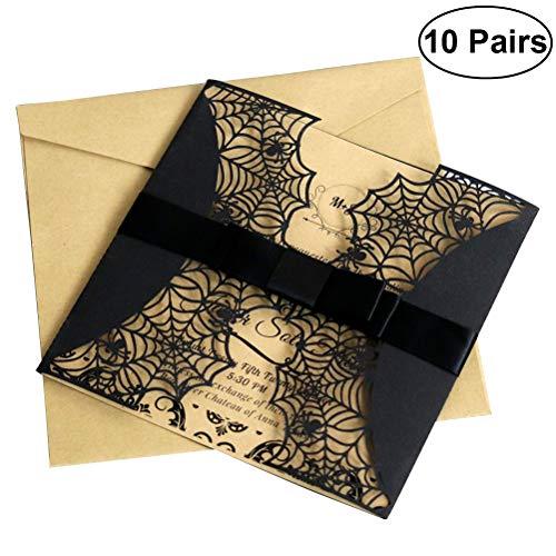 Amosfun Halloween Einladungen Karte Spiderweb Design-Karten mit Bowknots Laser Geschnittene Hohle Party-Einladungen Karten (Schwarz)