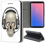 Samsung Galaxy S3 / S3 Neo Hülle Premium Smart Einseitig Flipcover Hülle Samsung S3 Neo Flip Case Handyhülle Samsung S3 Motiv (1238 Totenkopf Cartoon Lustig Schwarz Grau)