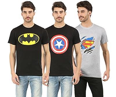 RK Casuals Cotton Men's Batman_Superman_Captain America T-Shirt (Combo Pack of 3) - Melange, Navy Blue & Black T Shirt