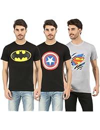 RK Casuals Cotton Men's Batman_Superman_Captain America T-Shirt (Combo Pack Of 3) - Melange, Navy Blue & Black...