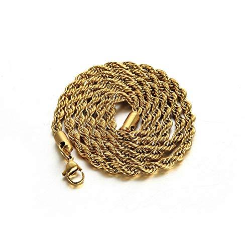 Epinki Edelstahl 4MM Halskette für Herren Gold