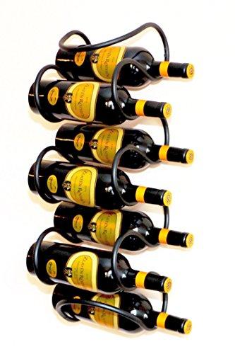 DanDiBo Weinregal Welle 58 cm aus Metall für 7 Flaschen Flaschenständer Wandregal