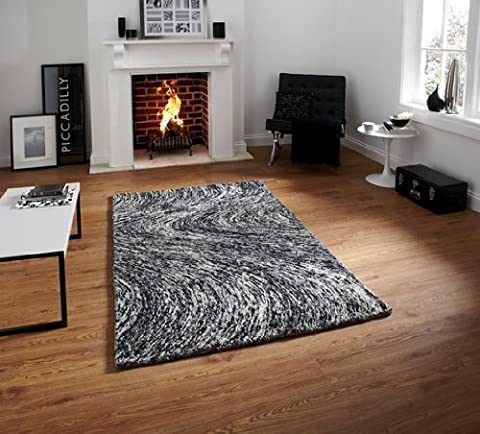Hand Tufted Black & Grey Speckled Deep Pile Wool Rug