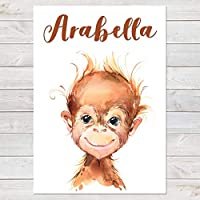 Baby Orangutan Print, Cute Personalised Animal Print for Kids, A4 or A3