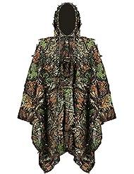 Uniforme de Camuflaje 3D, niños Jungle Caza Ghillie Suit Lluvia Poncho Ropa Adecuado para Ocultar