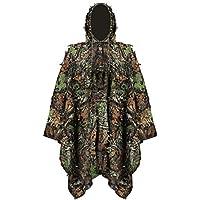 Uniforme de camuflaje 3d, niños Jungle Caza Ghillie Suit Lluvia Poncho Ropa Adecuado para ocultar de jugar, Exterior, caza