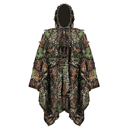 Pellor Kinder Tarnanzug, Jungle Regenponcho Ghillie Suit Camouflagemit Tarnkleidung Geeignet zum Verstecken von Spielen, Outdoor, Jagen