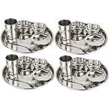 SPM Stainless Steel 24 Piece Dinner Thali Set|4 Dinner Plate 8 Bowl 4 Rice Plate 4 Glass & 4 Spoon|Home, Hotel Restaurant (Pack Of 4)