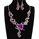 Mujers Pendientes Collar,Xinan Joyería Novia Mariposa Cristal Flor Colgante (Púrpura)