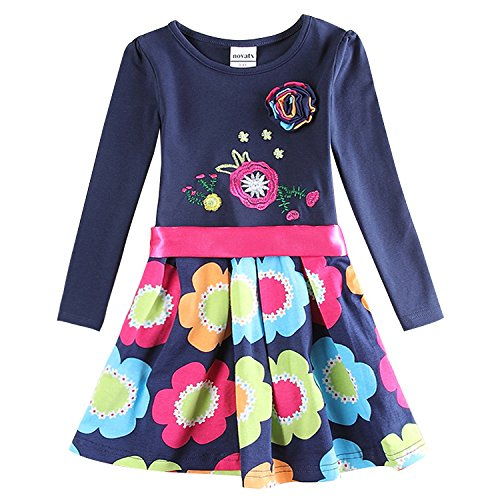 NEAT Niñas Flores Manga Larga Algodón Princesa Vestido H5868 Navy 1-6 año 6T