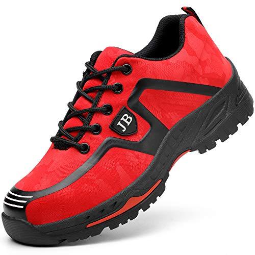 Scarpe da Cantiere Donna Uomo Leggere Sneaker da Lavoro Antinfortunistiche con Punta in Acciaio Scarpe da Trekking per L'Estate all'aperto Rosso 43