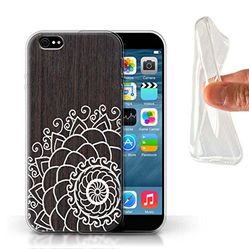 Stuff4 Gel TPU Hülle / Case für Apple iPhone 4/4S / Henna Muster / Fein Spitzenborte Holz Kollektion Henna