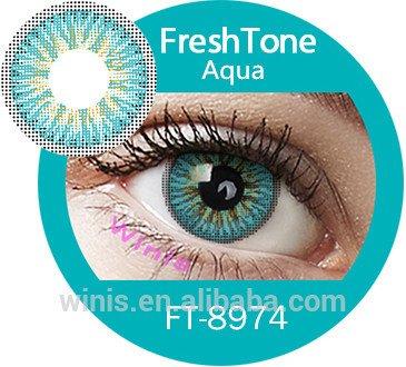 Farbige Kontaktlinsen, blau, türkis, grün und grau, weich, ohne Stärke als 2er Pack - mit Aufbewahrungsbox, angenehm zu tragen, perfekt für helle und dunkle Augen, Party (Türkis)