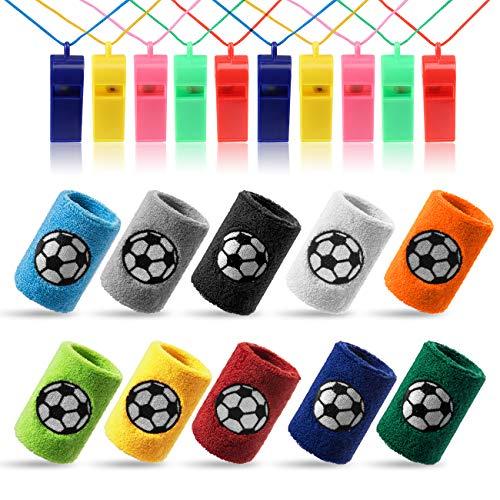 Kesote 10x Schweißband Fußball Handgelenksband (10 Farbe) + 10x Pfeife Plastik Whistle (Farbe Zufällig) für Sport Fußballgeburtstag Party (Nike Frauen Größe 8)
