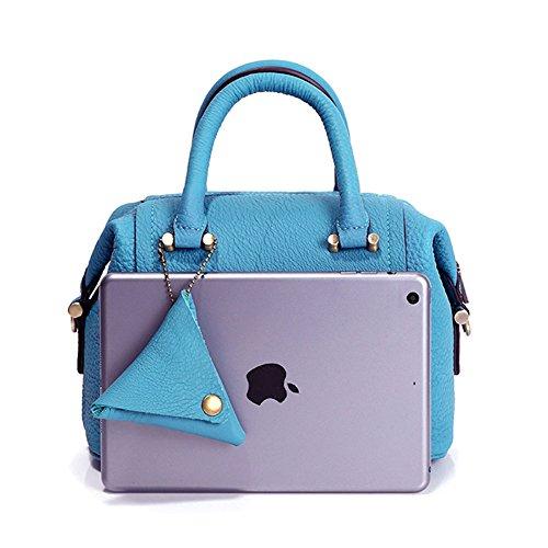 SAKUTANE da donna in vera pelle morbida borsa croce corpo borsa a mano Borsetta Regalo Perfetto Blue