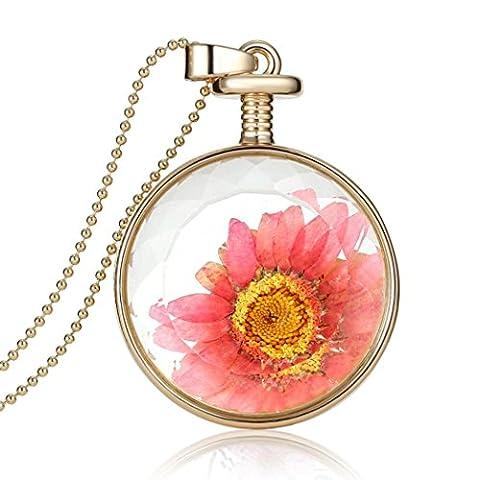 Saingace Frauen Trockene Blume transparente Kristall wünschen Flasche Anhänger Halskette