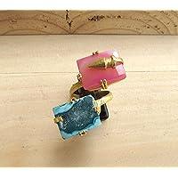 Rosa und blau Druzy Achat Ring mit Gold Kugeln, Edelstein verstellbarer Ring, Aussage Ring, Cocktail-Ring