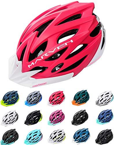 meteor® Marven Fahrradhelm Herren Damen Kinder-Helm MTB rollerhelm Kinder-fahrradhelm für Downhill rennradhelm Mountainbike skaterhelm BMX fahradhelm Scooter(L (58-61cm), Koralle Weiß) -