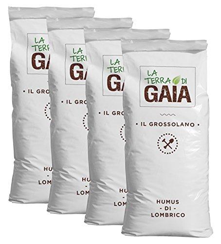 la terra di gaia 100% humus di lombrico il grossolano - 4 sacchi da 40 litri